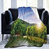 Papalikz Ultra-Soft Micro Fleece Soft And Warm Throw Blanket,Nature Summer Scene by Mountain Valley with Rainbow Over The Lake Sunny Day Image,80' 60', Hunter Green Blue