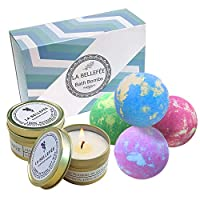 LA BELLEFÉE Bath Bombs Gift Set Perfect for Bubble & Spa Bath to Moisturize Dry Skin Christmas, Birthday Gift, Idea for Women, Best Friends, Girlfriend (4 x 112 g Bath Bombs and 2 x Scented Candles)