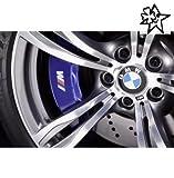 BMW Fahne 4 x Bremsenaufkleber Bremsen Aufkleber Bremssattel Hitzebeständig DECALS STICKERS von myrockshirt ® estrellina Glücksstern