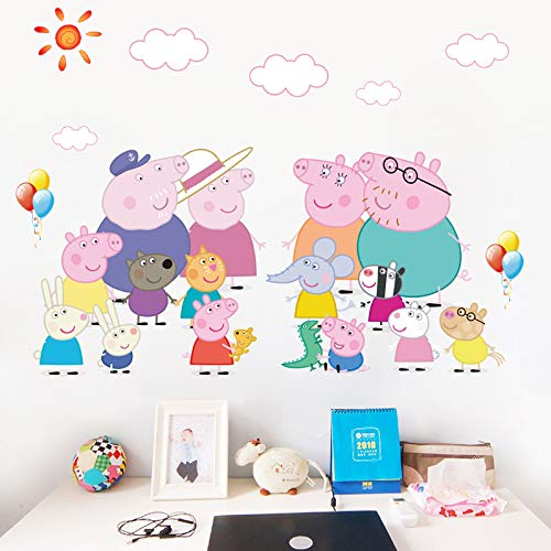 JUNMAONO Peppa Pig Wandtattoo/Wandaufkleber/Wall Poster/PVC Wandbild Dekor Vinyl Aufkleber/Wandfarbe...