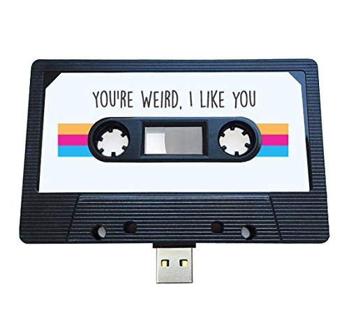 USB, diseño de casete retro, Quirky, música, fresco, lindo, amor, regalo, novio, novia, 80s, 90s, Gadget, Geek, oficina, novedad, cumpleaños, boda, aniversario, Valentines, Navidad, regalos para ella, regalos para él, Thoughtful, unidad flash, subir canciones, fotos y vídeos negro 16 gb