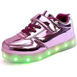 SAGUARO® Unisex niños USB Carga LED Luz Luminosas Flash Zapatos Zapatillas de Deporte para Los Reyes Magos, morado, 27 EU