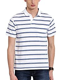Classic Polo White Colour Striped Regular Fit Polo T-shirt For Men