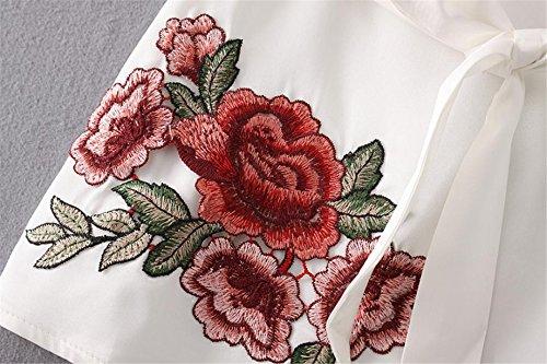 CYBERRY.M Débardeurs Femme Été Casual Sans Manches Bretelles Rosa Broderie Dos Nu Plage Veste T-shirt Blanc