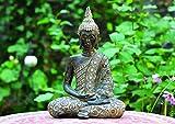 WOMA Buddha Deko Figur Sitzend mit Verzierungen, Dekoration für Haus, Wohnung und Garten, 33cm hoch, Wetterfeste Skulptur aus Polyresin für Innen und Außen, Silber - 3