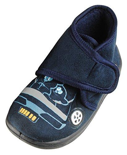 Immerschön Kinder-Hausschuhe in vielen Farben Schlappen Pantoffeln für Mädchen und Jungen blau Teddies im Auto Gr. 27