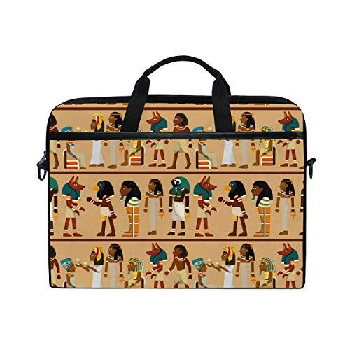 Ahomy 14 Zoll Laptop Tasche Ägypten Pharao Muster Canvas Stoff Laptop Tasche Bussiness Handtasche mit Schultergurt für Damen und Herren