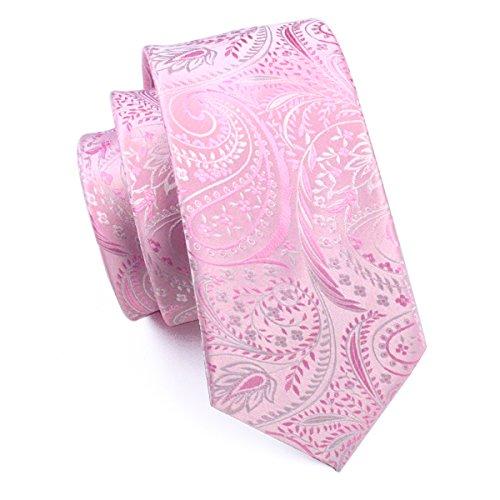 Hi-Tie Paisley corbata pañuelo gemelos Jacquard tejido de seda corbata Rosa...