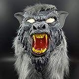 Zhuhaimei, látex Animal Lobo Cabeza mascarilla con Pelo Fiesta de Halloween Disfraces Miedo Disfraz anónimo Horror máscaras(Color:Colormix)