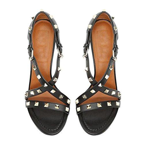 L@YC Tacchi alti delle donne Rivet Cross Sandals Black Fine Comodo Dance Black