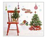 QTZJYLW Frohe Weihnachten Wandaufklebern DIY Dekoration Weihnachtsbaum Schneeflocke Kugel Muster Wandaufklebern Herausnehmbare PVC Wand Aufkleber Weihnachten Dekor (60 cm × 90 cm)