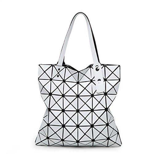 FZHLY Beiläufige Art Und Weise Der Dame Geometrische Ling Grid Matte Falttasche,DarkBlue White