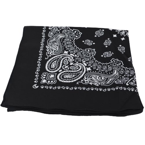 BLACK Bandana with WHITE square Paisley pattern ON BOTH SIDES