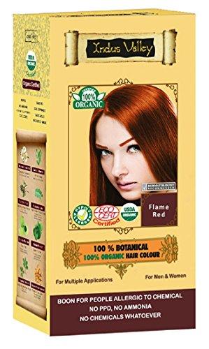 100% Organic 100% Botanical Natural Herbal Hair Dye Color Flammenrot für Männer und Frauen 100% frei von Chemikalien, kein PPD, kein Ammoniak, kein Peroxid und keine Schwermetalle (Flame Red)