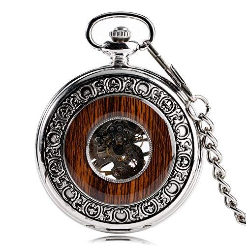 XDKHG Montre de poche Coole Silber Hand Wind Steampunk Windup mechanische Taschenuhr Holz Stil Kreis Vintage stilvolle Special Design (Wind Up Pocket Watch Mit Kette)