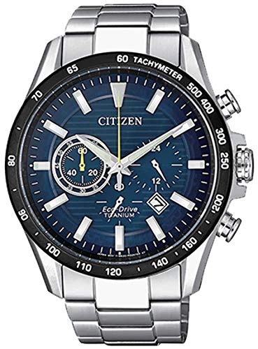 Citizen herrenuhr SUPER Titanium Chronograph BLAUES ZIFFERBLATT CA4444-82L