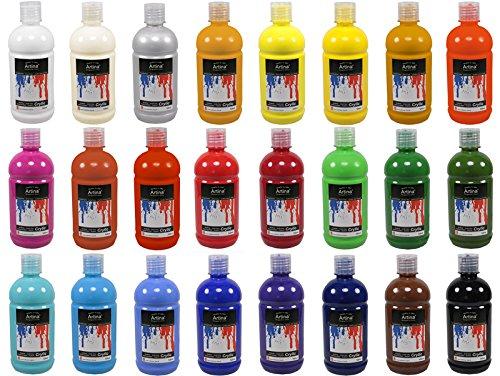 Artina set da 24 colori acrilici per pittura serie crylic - 500 ml cadauno - alta qualità per dipingere - per artisti