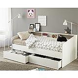 Funktionsbett 90*200 cm weiß inkl. Bettschubkasten Regalwand Kinderbett Jugendbett Bettliege