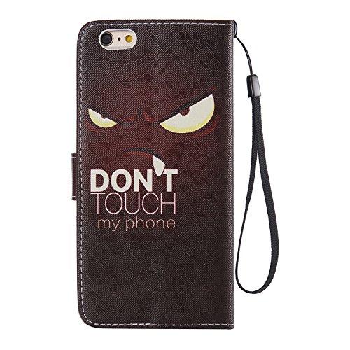Schutzhülle für Apple iPhone 6S Plus (2015)/iPhone 6 Plus (2014) 5.5 Zoll case Wallet Leder Schale Tasche Magnet PU Hülle Handy Silikon Back Cover Etui Skin Shell Purse Portemonnaie Geldbörse(Standfun Don't touch my phone