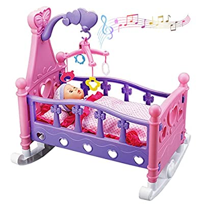 deAO Baby Doll Cradle with Music Features Rocking Cot Playset including Rotating Mobile and Doll