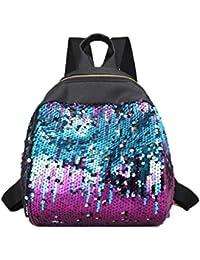 mochilas escolares juveniles, Sannysis mochilas mujer pequeñas bolsos viaje, patrón de lentejuelas (Púrpura)