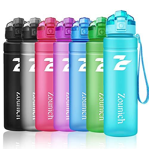 Sport Trinkflasche BPA frei Auslaufsicher Wasserflasche 500ml/700ml/1L Kunststoff Geeignet Sporttrinkflaschen für Joggen, Yoga, Fahrrad, Kinder Schule, öffnen mit einer Hand Trinkflaschen mit Filter