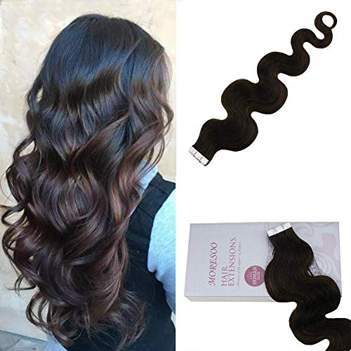 Moresoo 20 Zoll 20pcs/50g Wave Tape in Balayage Colored Hair Dark Brown #2 Ombre to Brown #6 Highlighted with #2 100% Remy Human Hair Double Sided Tape in Extensions Haare