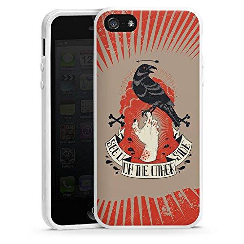 Apple iPhone 5 Housse étui coque protection Corbeau Corbeau Gothique Housse en silicone blanc