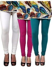 Anekaant Pack Of 3 Cotton Lycra Free Size Women's Legging - White, Purple, Dark Green