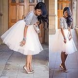 Zhuotop Faldas midi de verano para mujer Tutu Maxi plisada de malla Boho Princess Party Apricot