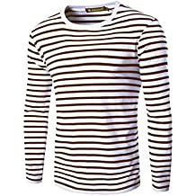 uxcell Allegra K Men Crew Neck Long Sleeves Stripe-Patterned T-Shirt Medium Coffee+White