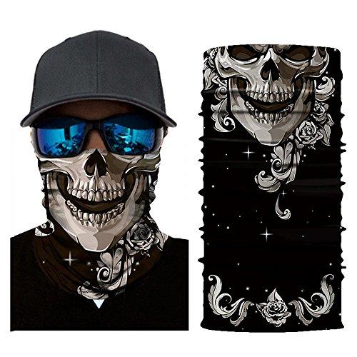 About1988 Multifunktionstuch, Totenkopf Multifunktionstuch Bandana Halstuch Kopftuch Face Shield aus Mikrofaser Material ist flexibel atmungsaktiv Maske fürs Motorrad Fahrrad Skifahren...
