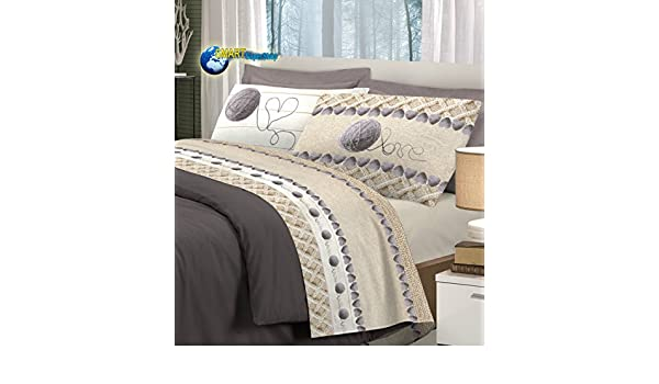 Smartsupershop Parure de lit en flanelle douce pour lit 2 places, motif  cœurs et pelotes de laine, couleur gris, fabriqué en Italie  Amazon.fr   Cuisine   ... ad127f289bb3