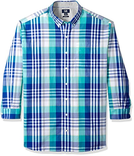 Cutter & Buck Herren Large Plaid and Check Easy Care Collared Shirts Button Down Hemd, Bolt Cooper, Klein -