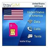 travSIM - Carta SIM USA Prepagata T-Mobile - 50GB Di Dati Internet Mobile, Chiamate E Testi Illimitati Per Gli Stati Uniti - Tethering Consentito - 4G LTE Per 10 Giorni
