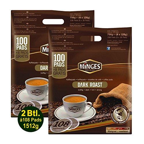 Minges Kaffeepads 2x Megapack Café Crème Dark Roast, Kaffee, 100 + 8 Kaffeepads Gratis -...
