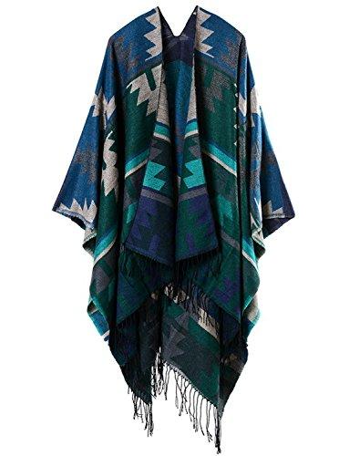 Dressvip Bohême Femme Poncho Cape Fourrure Lapin à Franges Chaud Hiver Automne 130*150cm 16 #