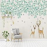 YShasaG Seidenwandbild Tapete 3D Moderne Kleine frische grüne Wand-Platte des Blatt-Aquarell-Art-Elch-3D geprägtes verdicken Fernsehhintergrund,208cm*146cm