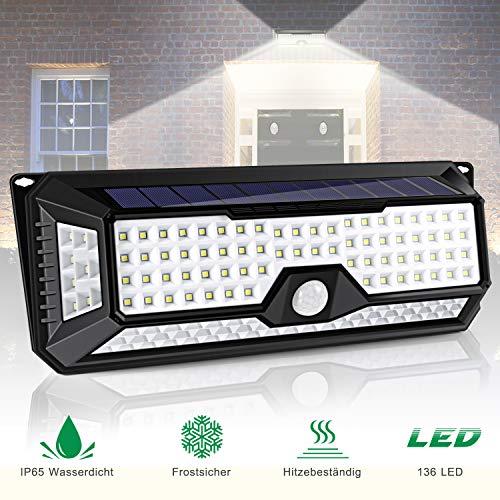 136 LED Solarlampe für Außen, ALIENGT Solarleuchte Solarlicht mit Bewegungsmelder IP65 Wasserdicht 3 Modi für Garten Auffahrt Hof Balkon und Garage