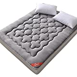 xiaojian& Fale Matratze Tatami Bettmatratze Verdicken Single Doppelt Student Schlafsaal Pad, [Flange Fleece Mattress - Plum Flower] Gray, 1.8m × 2.0m (6 Feet) Bed