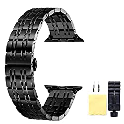 Apple Watch Band 42mm Black Quick Release Replacement Strap For Apple Watch Series 3 2 1