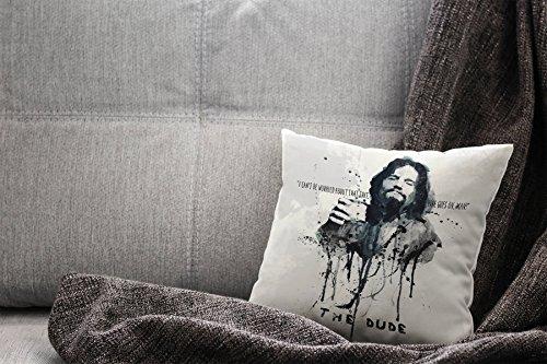 Paul Sinus Art The Big Lebowski Deko Kissen 40x40cm für Couch Sofa Lounge Zierkissen – Dekoration zum Wohlfühlen Hergestellt in Deutschland