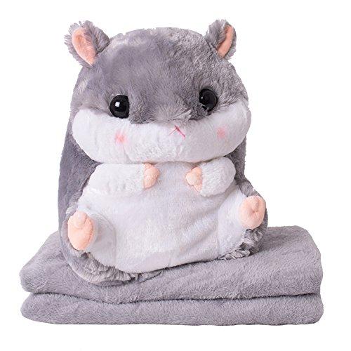 TE-Trend 2in1 Baby Kinder Plüschtier Hamster 40cm mit Fleecedecke im Bauch des Kuscheltieres in Grau