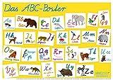mindmemo Lernposter - Das Tier ABC Poster für Kinder in Schreibschrift Schulausgangsschrift Alphabet spielend lernen mit Bildern Lernhilfe DIN A2 42x59 cm PremiumEdition in Transportrolle