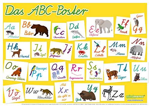 mindmemo Lernposter - Das Tier ABC Poster für Kinder in Schreibschrift Schulausgangsschrift Alphabet spielend lernen mit Bildern Lernhilfe DIN A2 42x59 cm PremiumEdition in Transportrolle (Das Abc In Schreibschrift)