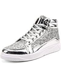 HENGJIA Herren Sportschuhe Sneakers High-Top Turnschuhe Freizeit Schuhe mit Glänzender Oberfläche