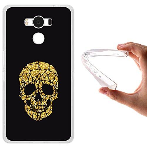 WoowCase Elephone P9000 Hülle, Handyhülle Silikon für [ Elephone P9000 ] Goldener Schädel Handytasche Handy Cover Case Schutzhülle Flexible TPU - Transparent