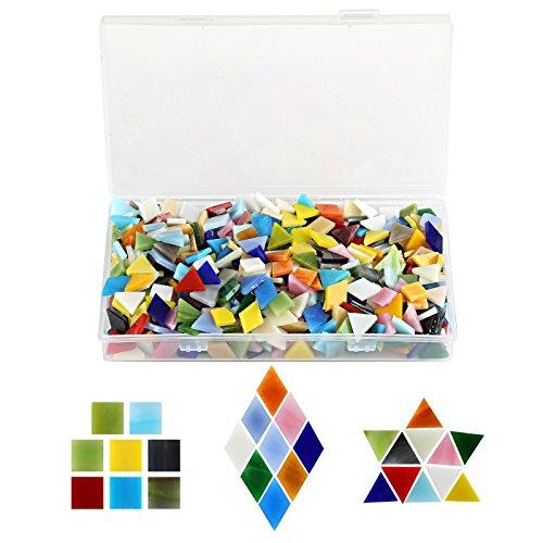 Kesote 600 Stück Mosaiksteine Glasmosaik Bastelmix Bunt Mosaik (Raute, Dreieck, Quadrat)