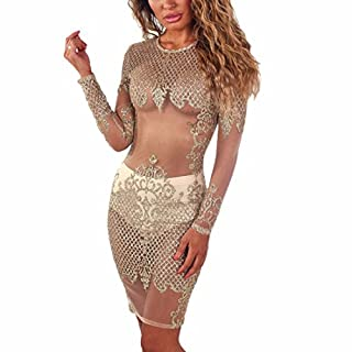 Ai.Moichien Egypt Style Nightclub See Through Golden Glitter Mesh Sequin Long Sleeve Printed Pencil Dress