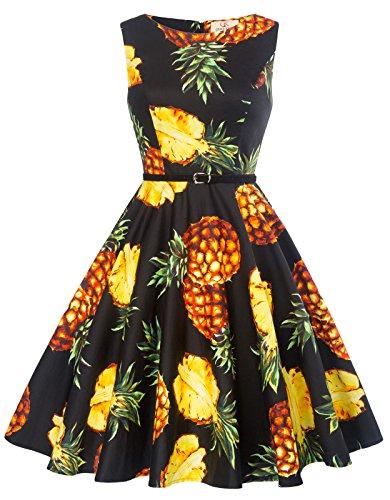 GK Vintage Dress Damen blumenkleid elegant rockabilly kleid 50er jahre kleid petticoat kleid M...